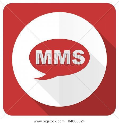 mms red flat icon message sign
