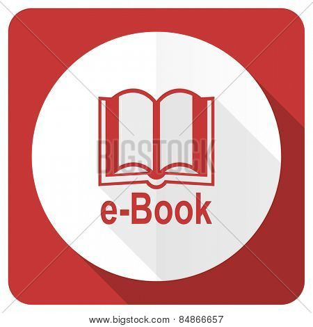 book red flat icon e-book sign