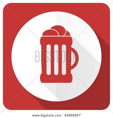 beer red flat icon mug sign