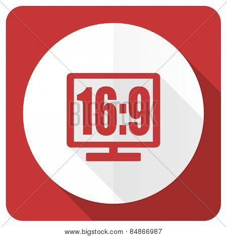 16 9 display red flat icon