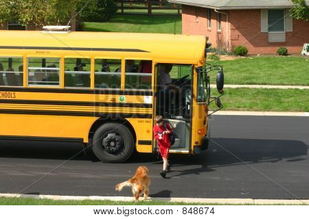 Boy Getting off School Bus