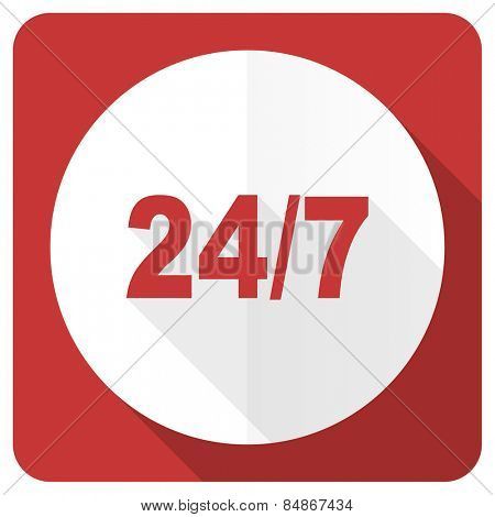 24/7 red flat icon