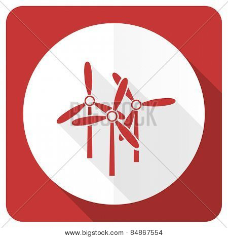windmill red flat icon renewable energy sign