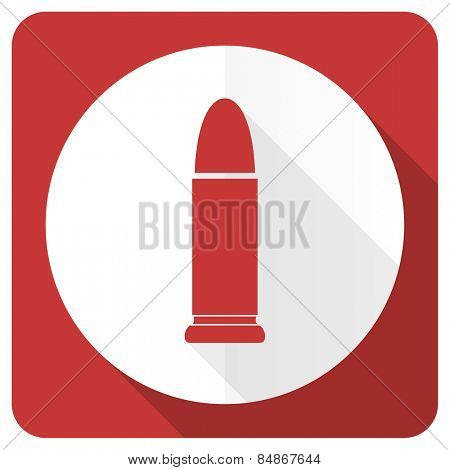 ammunition red flat icon weapoon sign