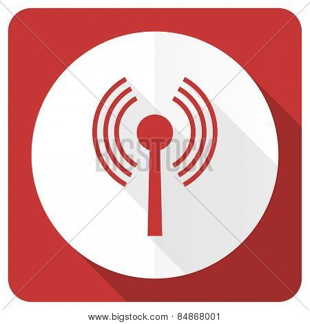 wifi red flat icon wireless network sign