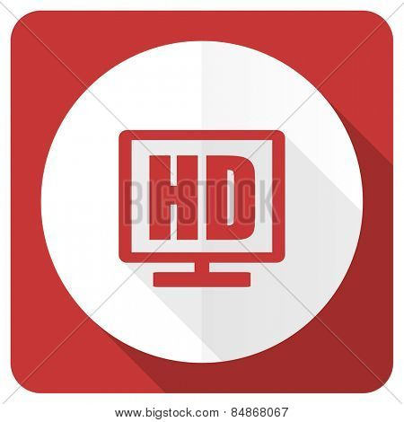 hd display red flat icon