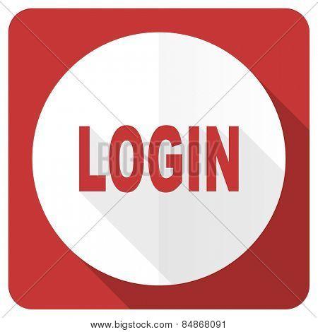 login red flat icon