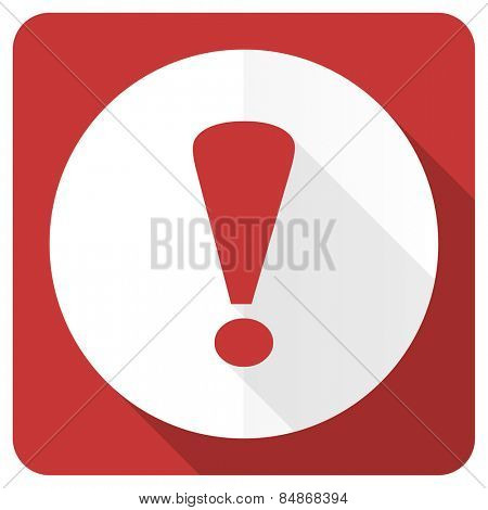 exclamation sign red flat icon warning sign