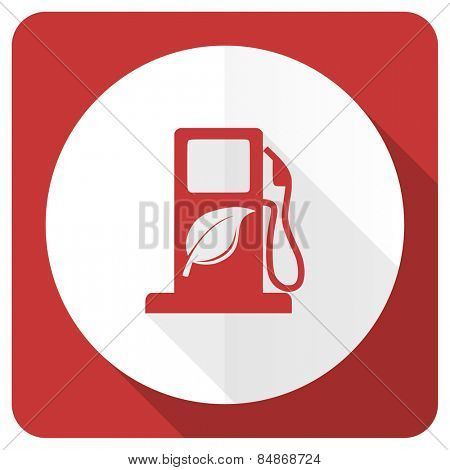 biofuel red flat icon bio fuel sign