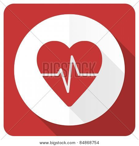 pulse red flat icon heart rate sign