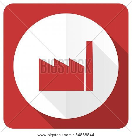 factory red flat icon industry sign manufacture symbol