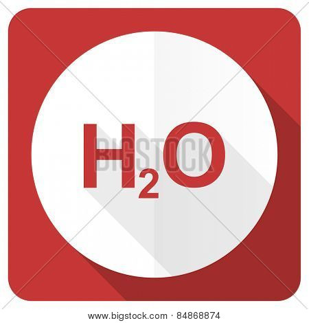 water red flat icon h2o sign