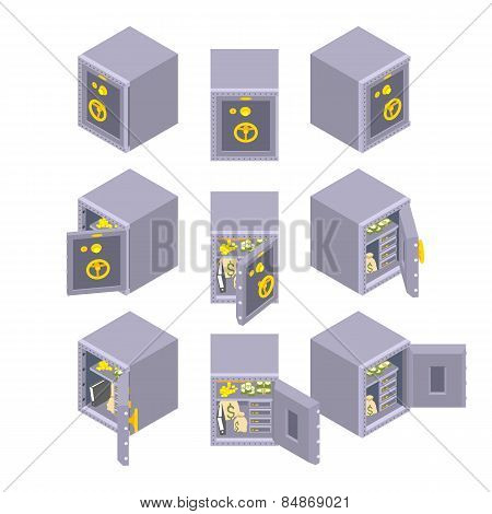 Isometric metal safe storage