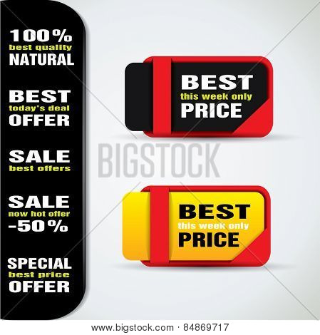 Special offer tags in vibrant color variations