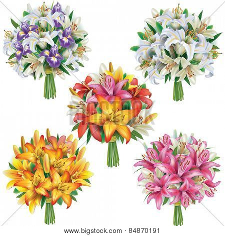 Set of lilies bouquets