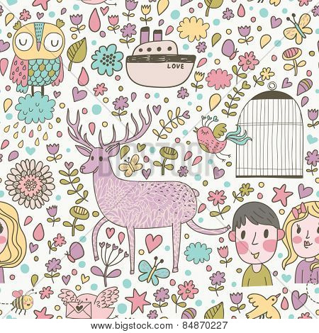Lovely cartoon seamless pattern with deer, flowers, owl, boy, girl, hearts, butterflies, ship and other romantic symbols in vector. Seamless pattern can be used for awesome wallpapers