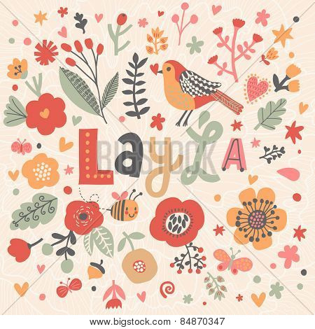 Bright card with beautiful name Layla in poppy flowers, bees and butterflies. Awesome female name design in bright colors. Tremendous vector background for fabulous designs