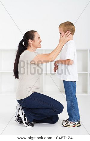loving mother with young son