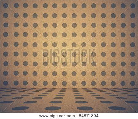 old grunge room with polka dot pattern, vintage background, retro filtered, instagram style