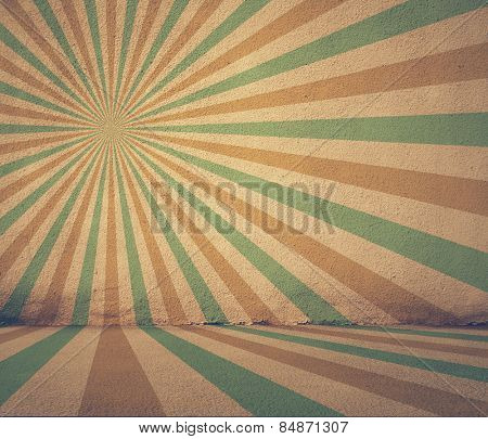 old grunge room with retro sun rays, vintage background, retro filtered, instagram style