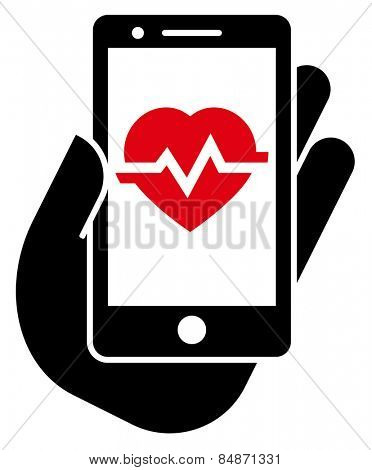 Heart rate in smartphone icon
