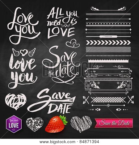 Love Phrases, Borders and Symbols on Chalkboard