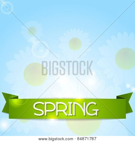 Spring design. Camomiles and ribbon on sunshine backdrop