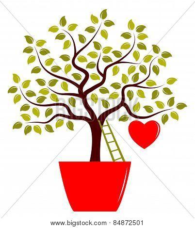 Heart Tree In Pot