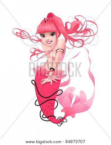 Young mermaid in pink. Funny cartoon and vector mythological character.