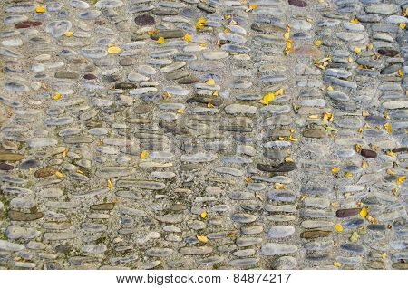 Ancient road made of round stones and covered with yellow leaves