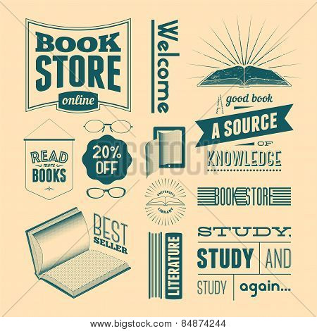 Typography vector set of vintage design elements for bookstore or library (without grunge effect).