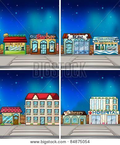 Many shops at night