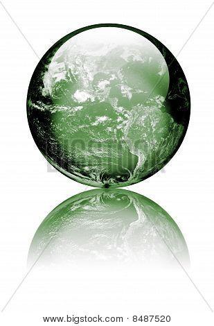 Earth As Green Glass Globe