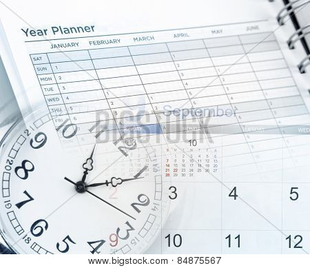 Clock face, calendar and year planner