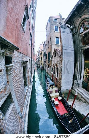 venice, beautiful romantic italian city on sea with great canal and gondolas