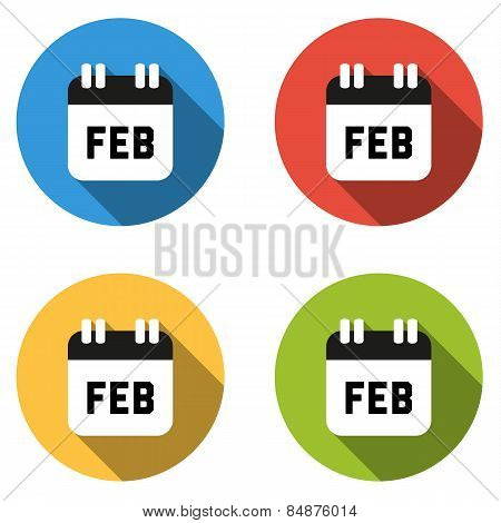 Collection Of 4 Isolated Flat Colorful Buttons For February (calendar Icon)