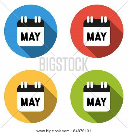 Collection Of 4 Isolated Flat Colorful Buttons For May (calendar Icon)
