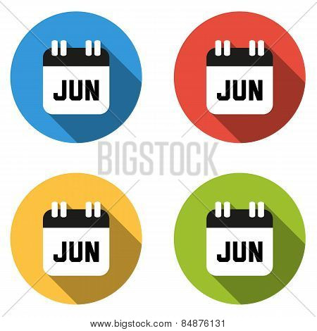 Collection Of 4 Isolated Flat Colorful Buttons For June (calendar Icon)