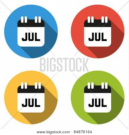 Collection Of 4 Isolated Flat Colorful Buttons For July (calendar Icon)