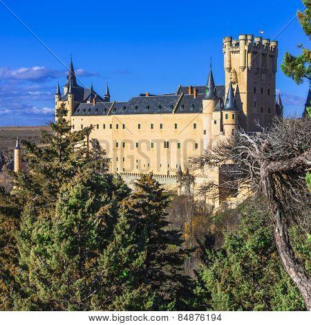 beautiful Alcazar castle in Segovia, Spain