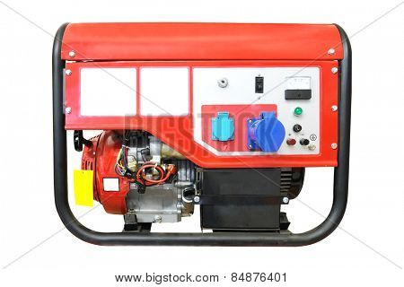 Portable gasoline generator isolated on a white background.