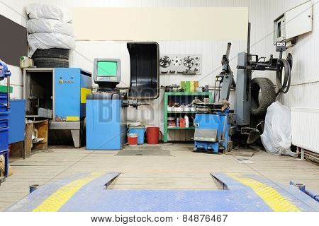 Interior of a tire mounting workshop