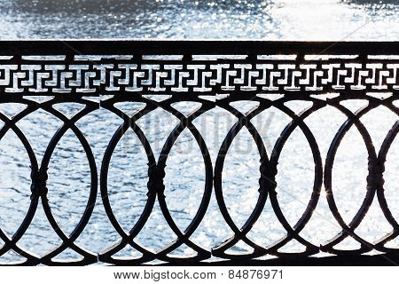 Metal Parapet On Waterfront