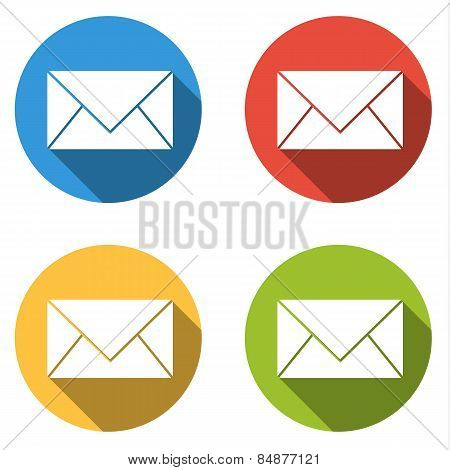 Collection Of 4 Isolated Flat Colorful Buttons For Mail / Message With Long Shadow