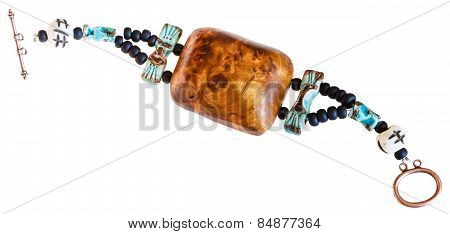 Bracelet From Wooden Piece And Stone Beads