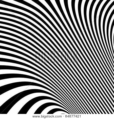 Pattern with optical illusion. Black and white background. Vector illustration.