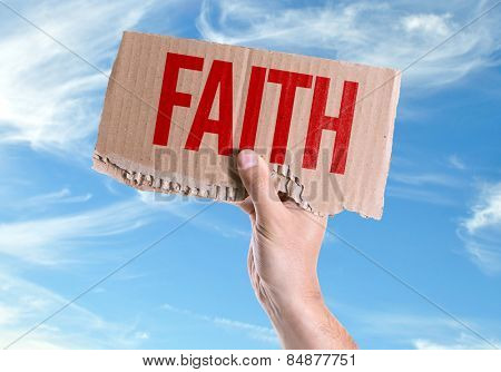 Faith card with sky background
