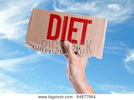 Diet card with sky background