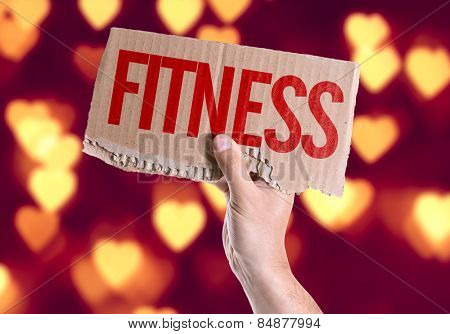 Fitness card with heart bokeh background