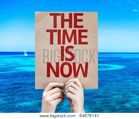 The Time is Now card with beach background